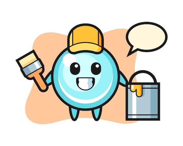 Иллюстрация характера пузыря как художник, милый дизайн стиля
