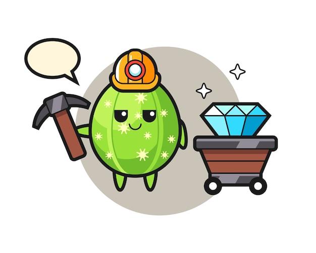 鉱山労働者としてのサボテンのキャラクターイラスト