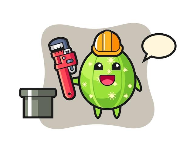配管工としてのサボテンのキャラクターイラスト