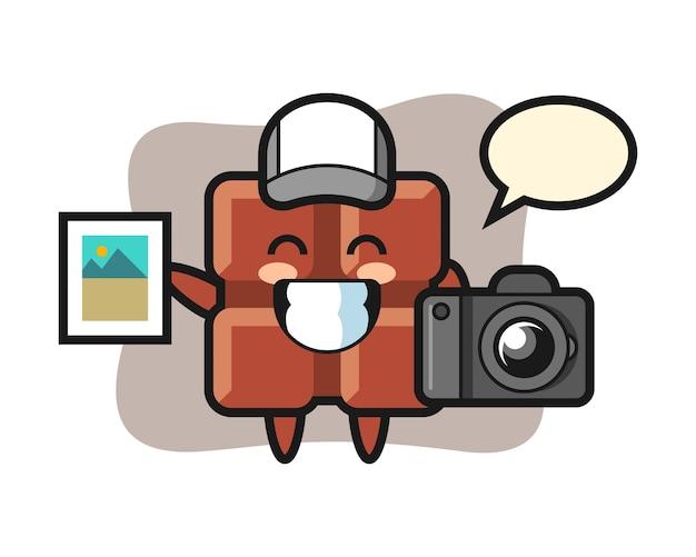 写真家としてのチョコレートバーのキャラクターイラスト、キュートなカワイイスタイル。