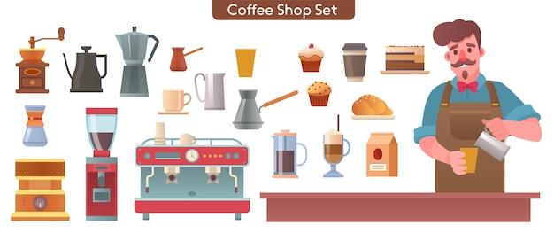 コーヒーショップ、カフェ、カフェテリアのキャライラストセット要素。カウンターでコーヒーを作るバリスタ。各種デザート、コーヒーメーカー、グラインダー、マシンのバンドル