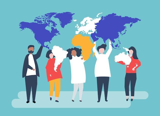 Иллюстрация персонажей разных людей и мира