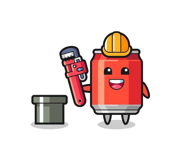 음료수의 캐릭터 삽화는 배관공으로, 티셔츠, 스티커, 로고 요소를 위한 귀여운 스타일 디자인
