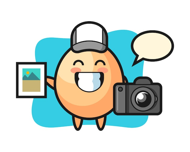 写真家としての卵のキャラクターイラスト、tシャツ、ステッカー、ロゴ要素のかわいいスタイルのデザイン