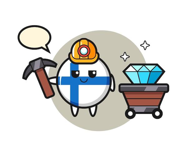 鉱山労働者としてのフィンランド国旗バッジのキャラクターイラスト、tシャツ、ステッカー、ロゴ要素のかわいいスタイルのデザイン