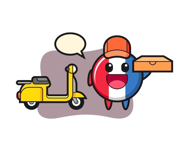 ピザの配達員としてのフランスの旗バッジのキャラクターイラスト