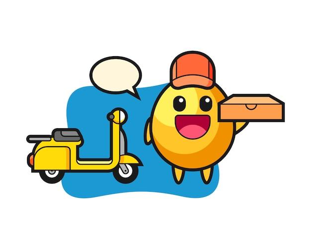 Иллюстрация характера золотого яйца как доставщик пиццы, милый дизайн стиля