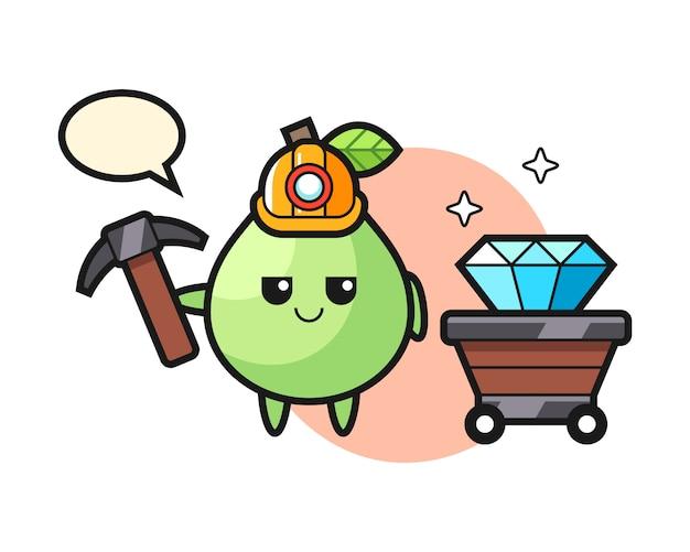 Иллюстрация характера гуавы как шахтера, милый дизайн стиля для футболки, стикер, элемент логотипа