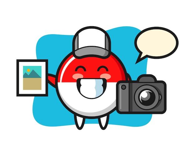 写真家としてのインドネシア国旗バッジのキャラクターイラスト