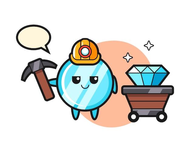 鉱夫としての鏡のキャラクターイラスト