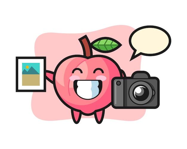 写真家としての桃のキャラクターイラスト、tシャツのキュートなスタイルデザイン