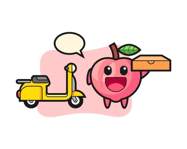 Персонаж иллюстрации персика в качестве доставщика пиццы, милый дизайн стиля для футболки