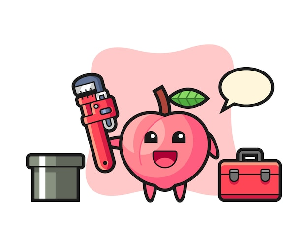 桃の配管工、キュートなtシャツのデザインのキャラクターイラスト