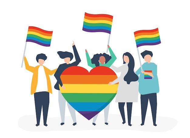 Символьная иллюстрация людей, имеющих значки поддержки lgbt