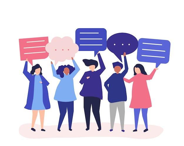Символьная иллюстрация людей с пузырями речи