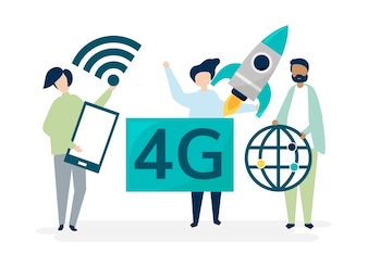 Character illustration of people with 4g icon