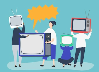 Character illustration of people with analog TV icons