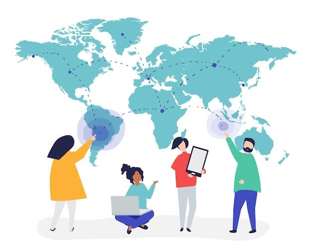 Характерная иллюстрация людей с глобальной сетевой концепцией