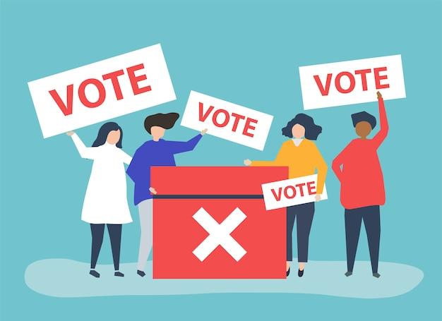 Иллюстрация персонажей людей с иконками голосования