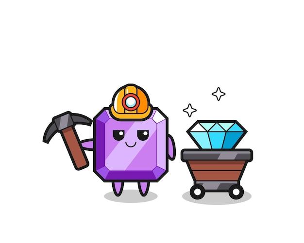 鉱山労働者としての紫色の宝石のキャラクターイラスト、tシャツ、ステッカー、ロゴ要素のかわいいスタイルのデザイン