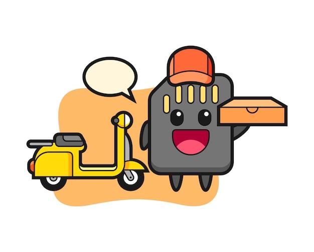 Персонаж иллюстрация sd-карты в качестве доставщика пиццы, милый стиль дизайна для футболки