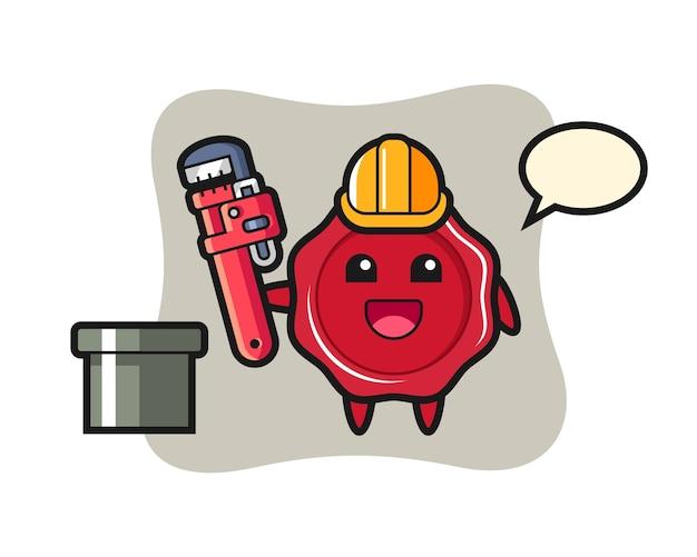 配管工としてのシーリングワックスのキャラクターイラスト