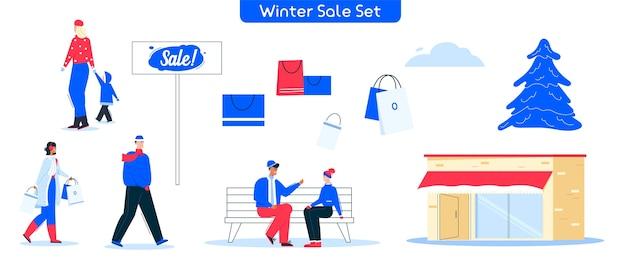 ウィンターセールのショッピングのキャラクターイラスト。人の女性、男性、歩く子供バイヤーのセットがベンチに座っています。幸せな顧客、ショッピングバッグ、店の建物、クリスマスツリーの束 Premiumベクター