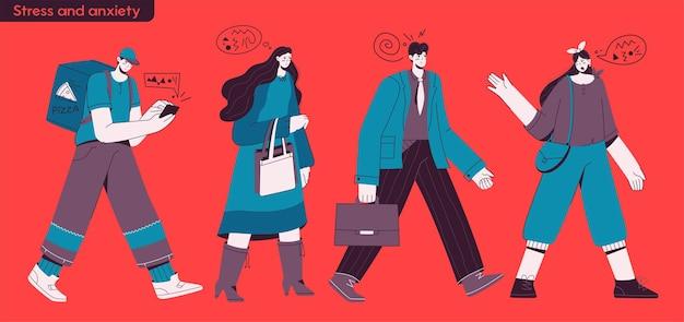 ストレスと不安の概念のキャラクターイラスト