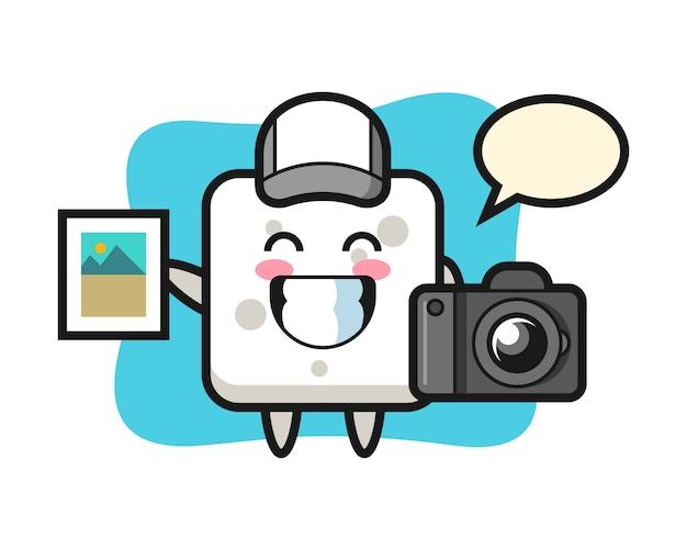 Иллюстрация характера сахарного кубика как фотографа, милого стиля для футболки, стикера, логотипа