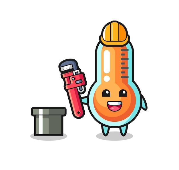 配管工としての温度計のキャラクターイラスト