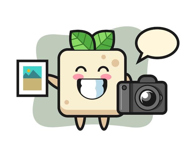 写真家としての豆腐のキャラクターイラスト、tシャツのキュートなスタイルデザイン