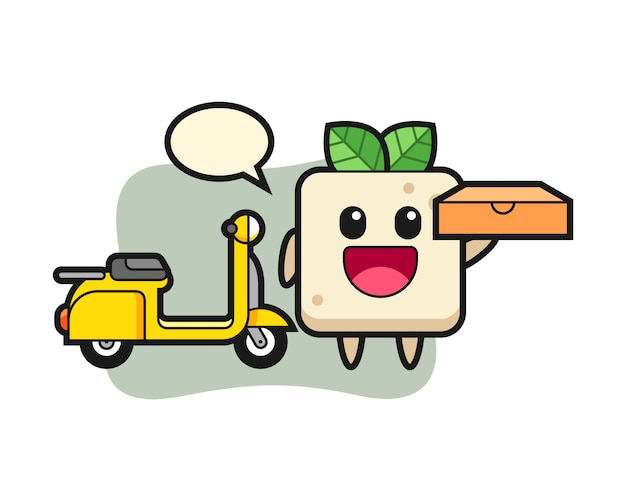 Иллюстрация характера тофу как доставщик пиццы, милый дизайн стиля для футболки