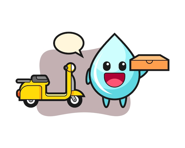 Иллюстрация характера капли воды, как доставщик пиццы, милый дизайн стиля для футболки