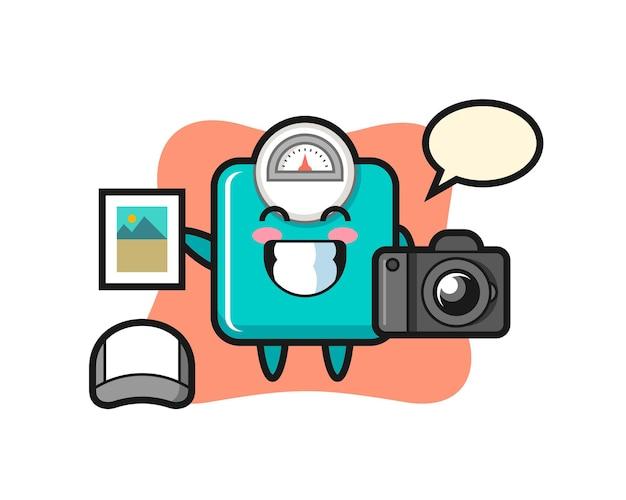 Иллюстрация персонажей весов как фотограф, милый стиль дизайна для футболки, наклейки, элемента логотипа