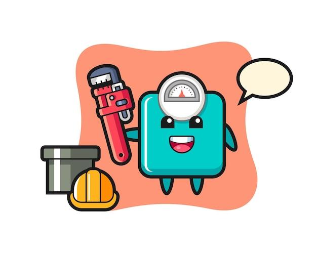 배관공으로 체중계의 캐릭터 그림, 티셔츠, 스티커, 로고 요소에 대한 귀여운 스타일 디자인