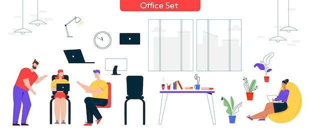 Иллюстрация характера рабочего процесса в офисе. набор мужчина, женщина коллега, встреча, обсуждение задач. элементы интерьера: ноутбук, компьютер, рабочий стол, эргономичные предметы мебели.