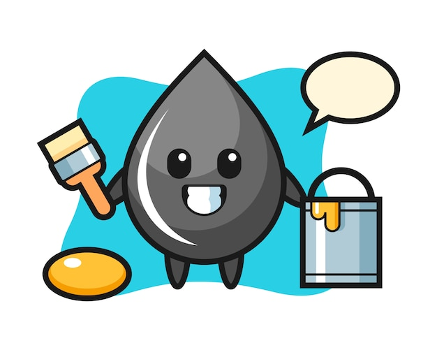 Character illustration of oil drop as a painter