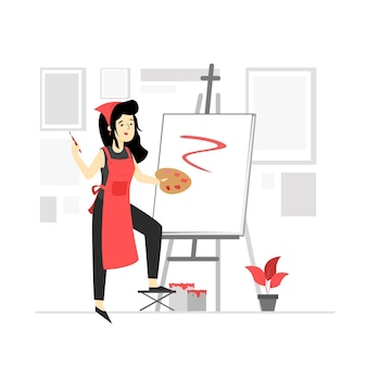 Character illustration of a painter