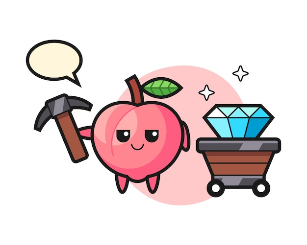 Character illustration of peach as a miner, cute style design for t shirt
