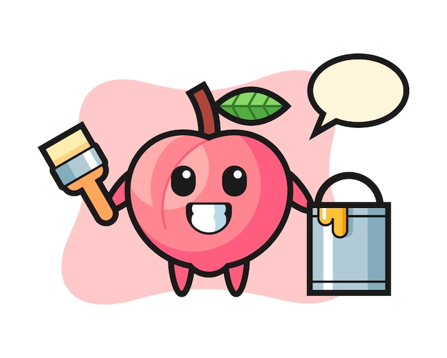 Character illustration of peach as a painter, cute style design for t shirt