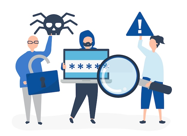 Character illustration of people with cyber crime icons