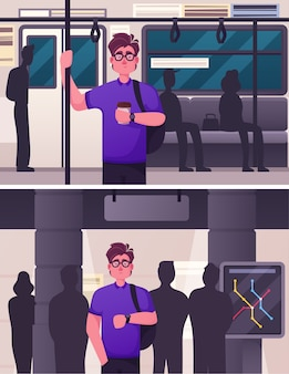 Character illustration of public underground city transport scene set. man passenger rides in subway, waiting for arrival train at station. urban traffic infrastructure, citizen transportation