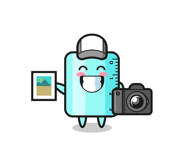 Character illustration of ruller as a photographer , cute style design for t shirt, sticker, logo element