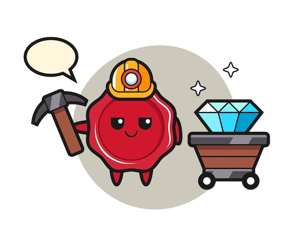 Character illustration of sealing wax as a miner