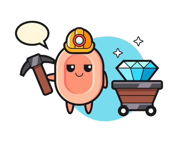 Character illustration of soap as a miner, cute style  for t shirt, sticker, logo element