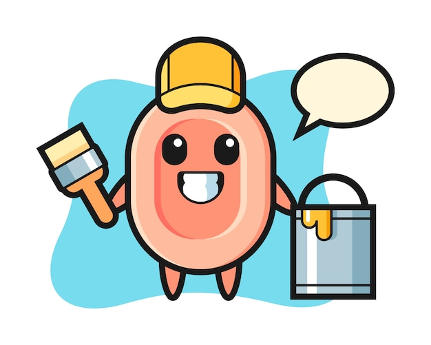 Character illustration of soap as a painter, cute style  for t shirt, sticker, logo element
