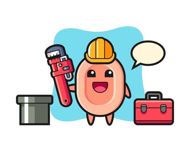 Character illustration of soap as a plumber, cute style  for t shirt, sticker, logo element
