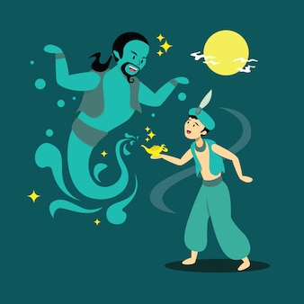 Character illustration of someone meeting a genie