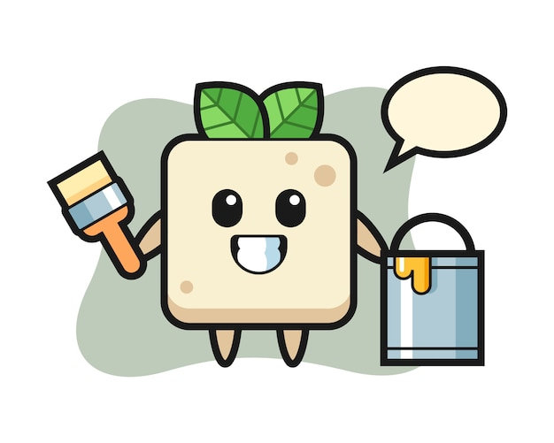 Character illustration of tofu as a painter, cute style design for t shirt
