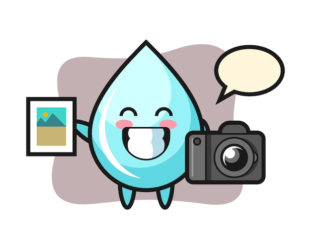 Character illustration of water drop as a photographer, cute style design for t shirt